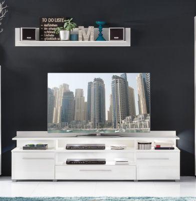TV-Unterteil mit Wandboard weiss hochglanz Jetzt bestellen unter - wohnzimmer weiß hochglanz