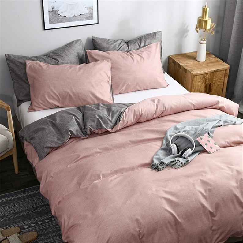 Duvet Cover Set Solid Bedding Microfiber Pink Gray Bed Set Etsy Gray Bed Set Pink And Grey Bedding Pink Bed Sheets