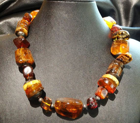 Vintage Necklace Baltic Amber Multicolor 94.6 by ElegantArtifacts, $650.00