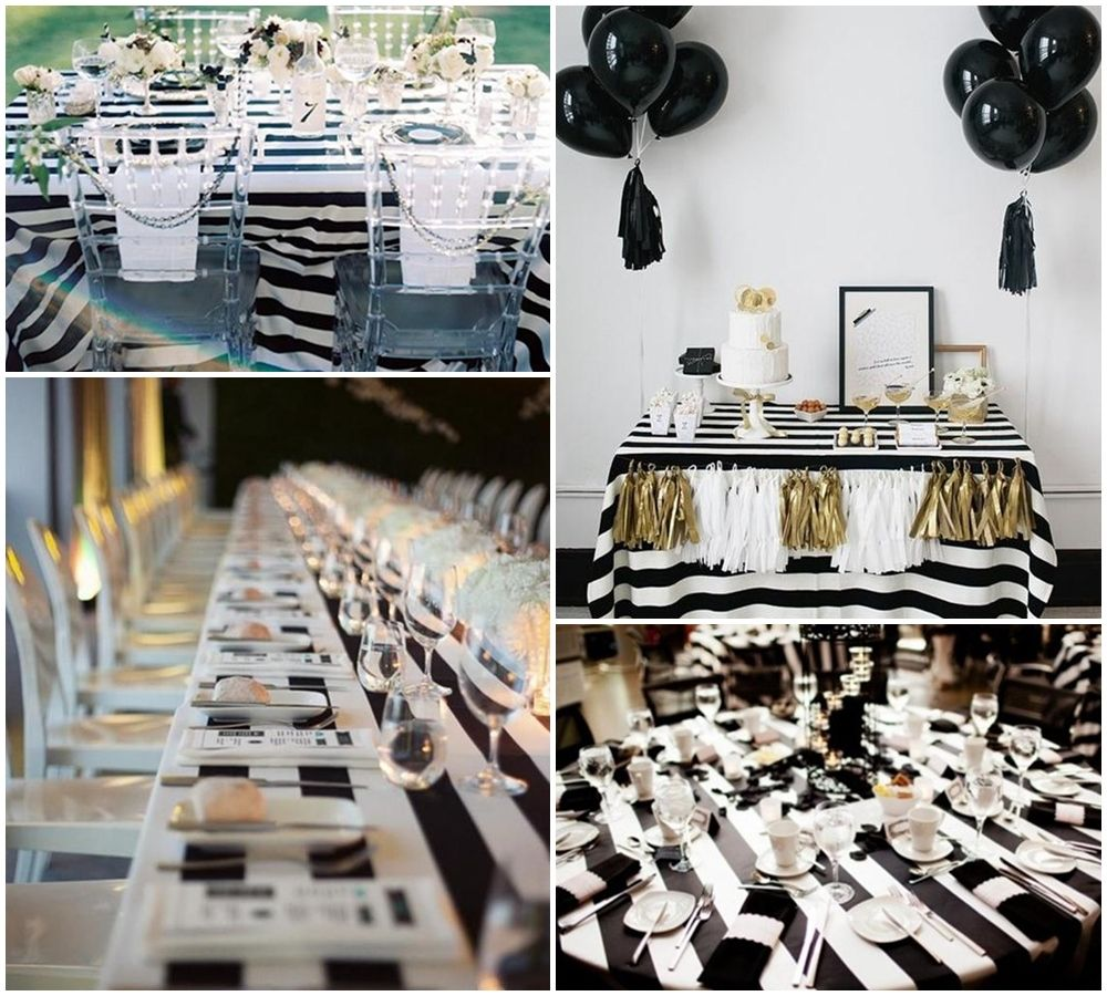 Black And White Party Table Decorations Ideas White Party