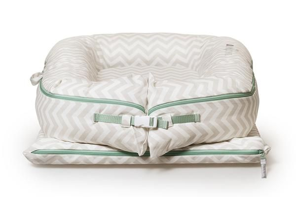 The silver lining chevron grand dock measures24 inches wide x 39-47 inches long. Keeps your baby in a comfortable zone and gives them a sense of security.