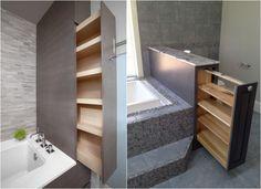 Regal Badezimmer ~ Versteckte regale in schubladen für kleines bad badezimmer