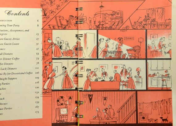 1950s cookbook, betty crocker's easy entertaining, party planner, mid  century, vintage kitchen, first edition, great retro illustrations,