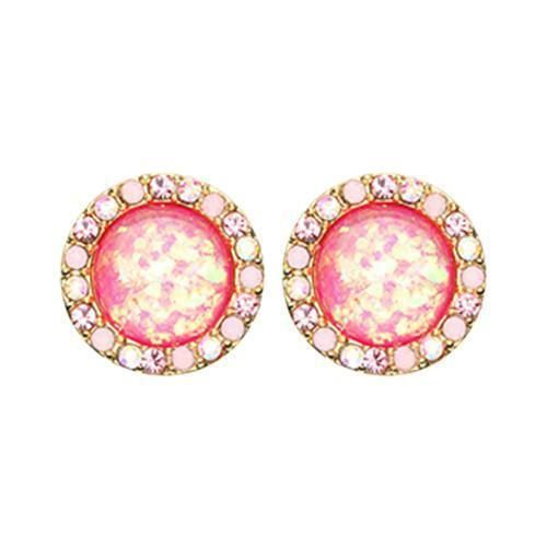 Aurora BorealisLight PinkPink Golden Round Crown Opal Jeweled Combo Ear Stud Earrings  1 Pair Source by rebelbod Body Jewelry
