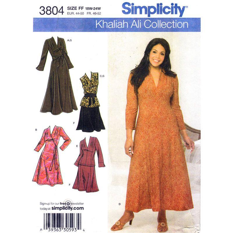 Flared Dress Top Skirt Pattern Simplicity 3803 Mock Wrap Khaliah Ali ...