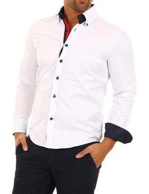 Camisa Carisma detalle logo university blanco