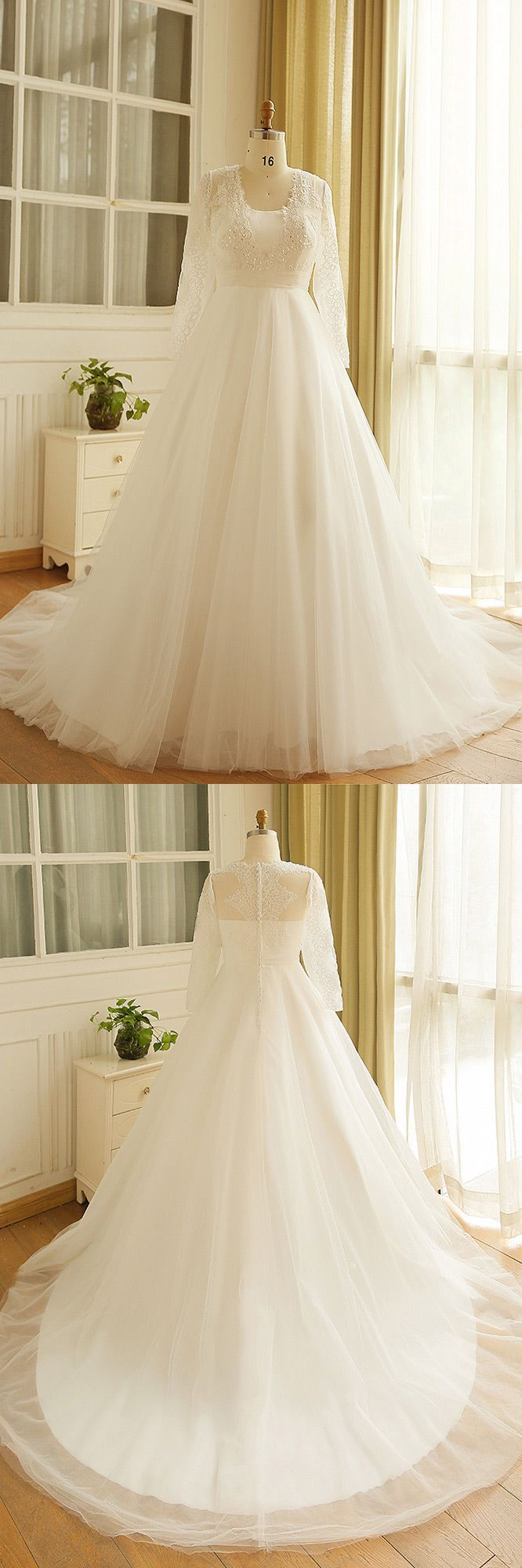 Modest long sleeve wedding gown  Modest Long Lace Sleeve Plus Size Wedding Dress Tulle Beach Weddings