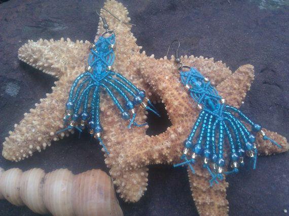 teal and gold micro macrame dangle earrings by Euphoricallycreated, $15.00
