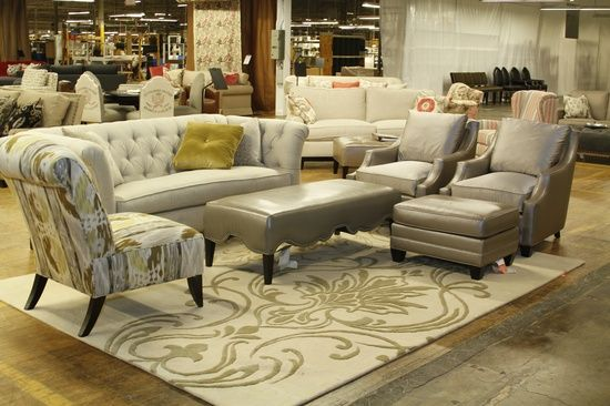 Our Beautiful Bridgeport Sofa Paired With Two Renee Chairs Tremont Side Chair And Swag Ottoman