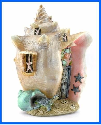 Conch Condo Shell House is part of Home garden Fun - FAIRY GARDEN FAIRY HOUSE FIGURINE Conch Condo seashell fairy mermaid house The most beautiful home your mermaids could ever want Including a sea turtle guarding the front door! Size 5 5  wide x 7  tall x 4  deep Materials Resin
