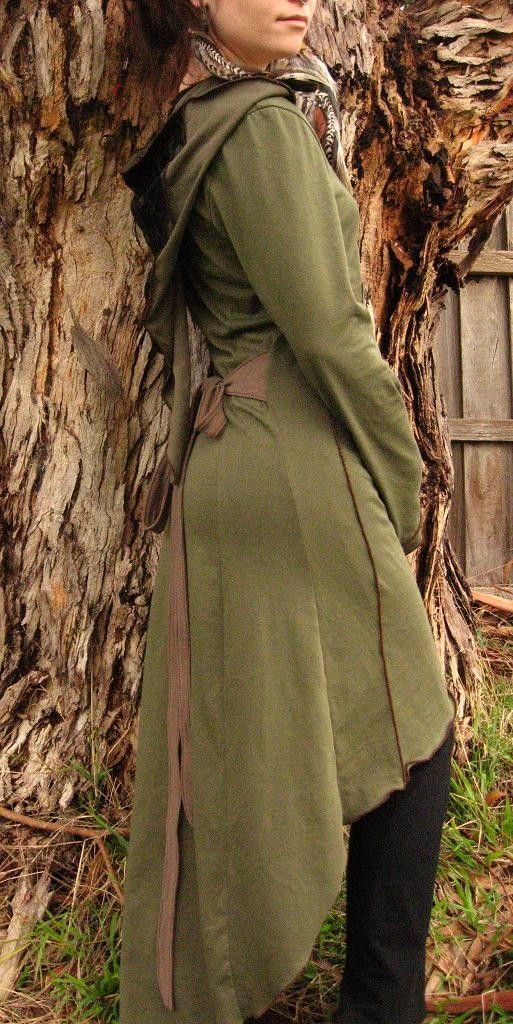 Pagan Hooded Coat Boho Top Hippy Coat Wicca Style Pixie Coat, Pixie Hoodie Rave Hoodie Steampunk Jacket Brown Festival Jacket