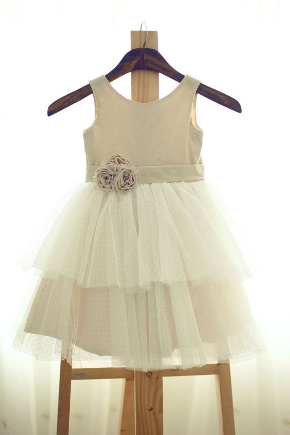 Linen Polka Dots Tulle Flower Girl Dress Wedding by misdress | Cosas ...