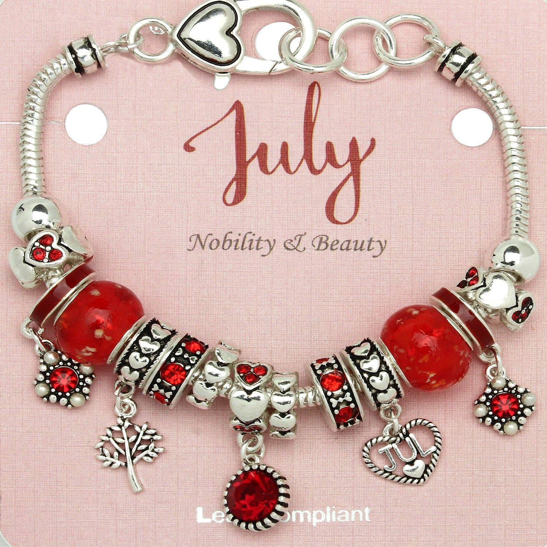 606c5b440 July Birthstone, Birthstone Charms, Birthstone Jewelry, Murano Glass Beads,  Metal Beads,