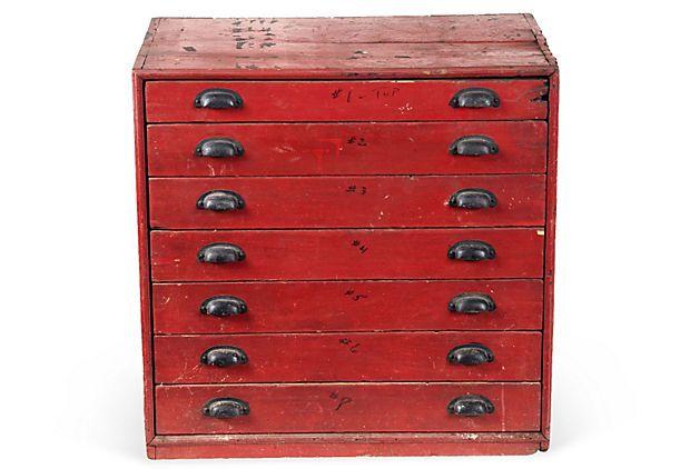 Vintage Wood Printeru0027s Cabinet With Thin Drawers And Metal Hardware. 31u0027u0027L  X 18u0027u0027W X 30u0027u0027H