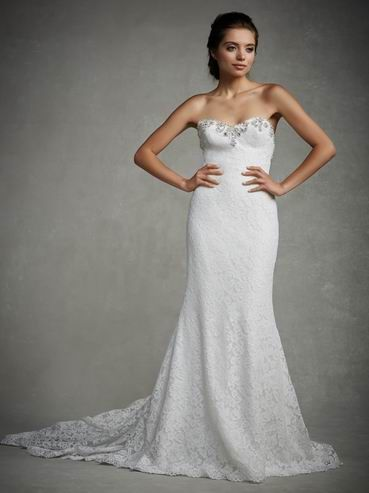 Cheap Classic Elegant Sheath/Column Strapless Beading&Sequins Lace Sweep/Brush Train Wedding Dress Free Measurement