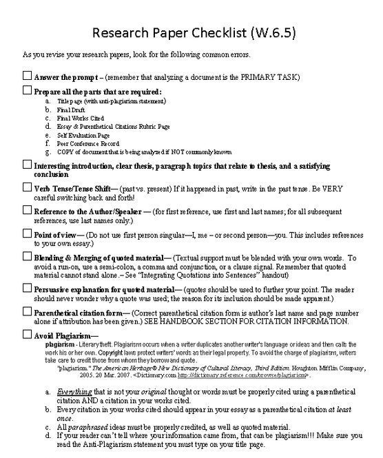 Research Paper Checklist  Research Paper Writing