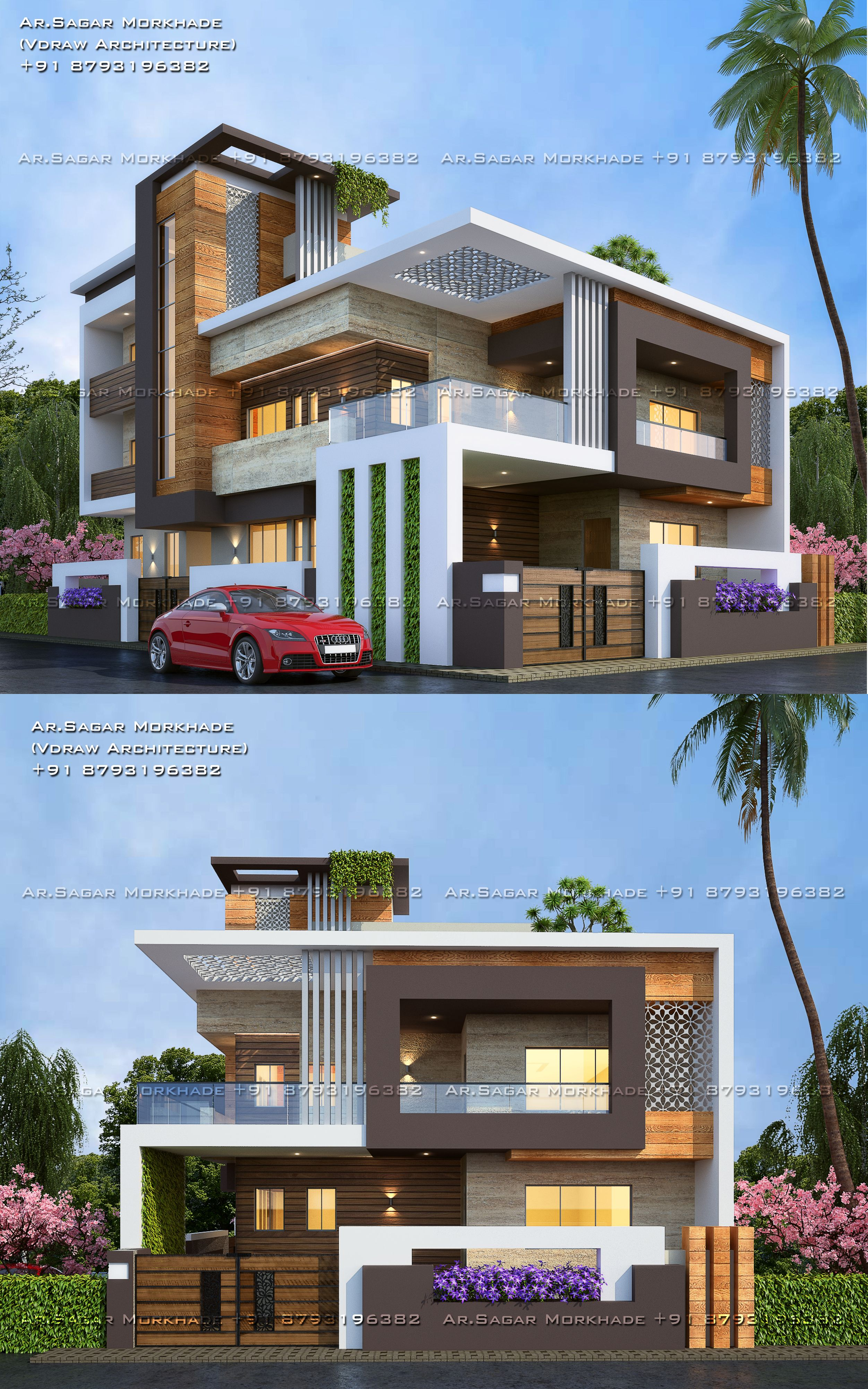 Modern Residential House Bungalow Exterior By Ar Sagar Morkhade Vdraw Architectur House Front Design Modern Architecture House House Architecture Design