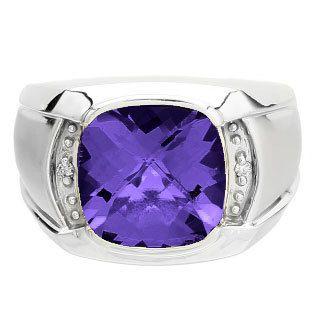 Big Men's Diamond Cushion Cut Amethyst Sterling Silver Ring by gemologica on…