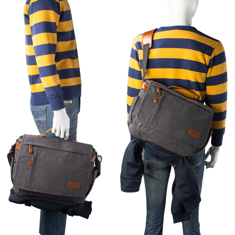 Estarer Mens 13 3 14 Inch Laptop Bag Canvas Messenger Shoulder Bag