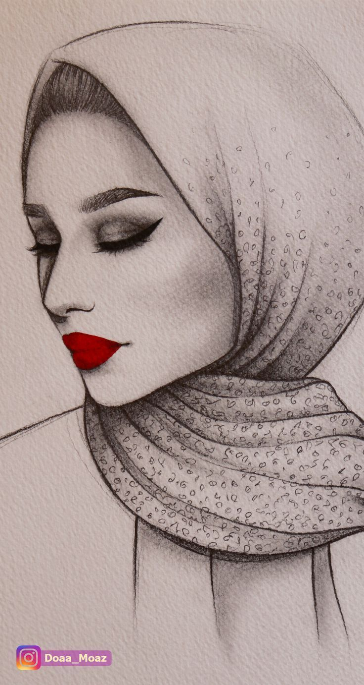Photo of Pencil sketch, semi profile portrait of a girl with hijab and wearing a red lips…