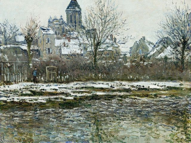 (via 1878-79 Claude Monet The church at Vetheuil,snow(dOrsay)(53 x 71cm) | Flickr - Photo Sharing!)