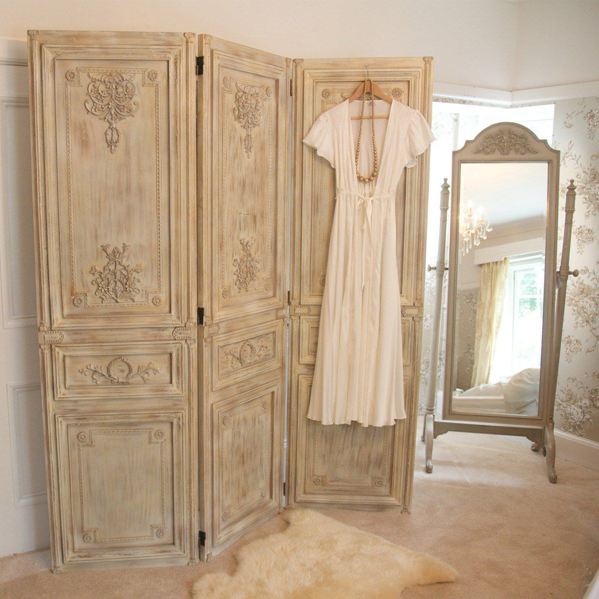 Limed Wooden Dressing Screen Room Divider Home Industrial