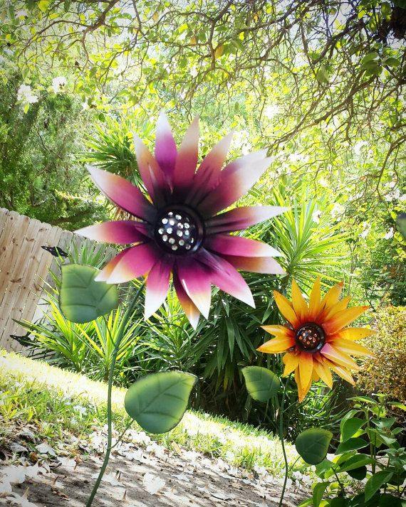 Pink Sunflower Garden Stakes Https://www.etsy.com/listing/