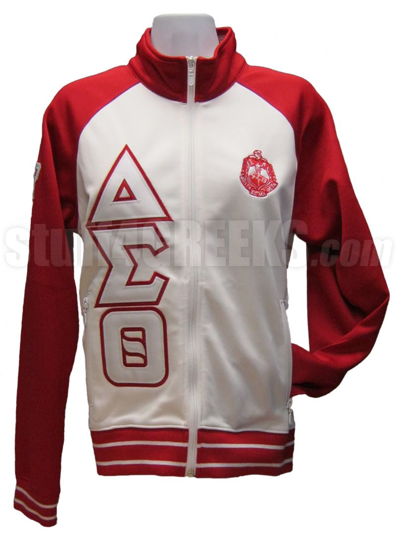 Delta Sigma Theta Track Jacket With Letters And Crest Red White