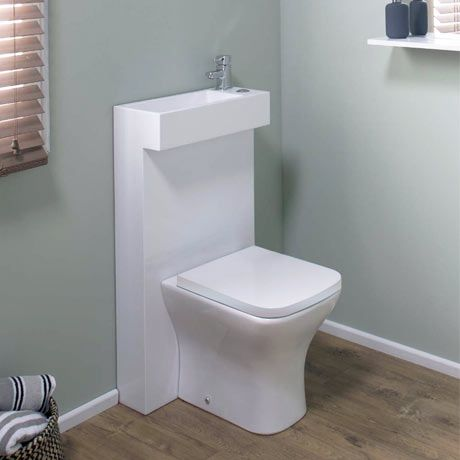 Milan Polymarble Combined Two In One Wash Basin Toilet Small Toilet Room Sink Toilet Combo Small Bathroom