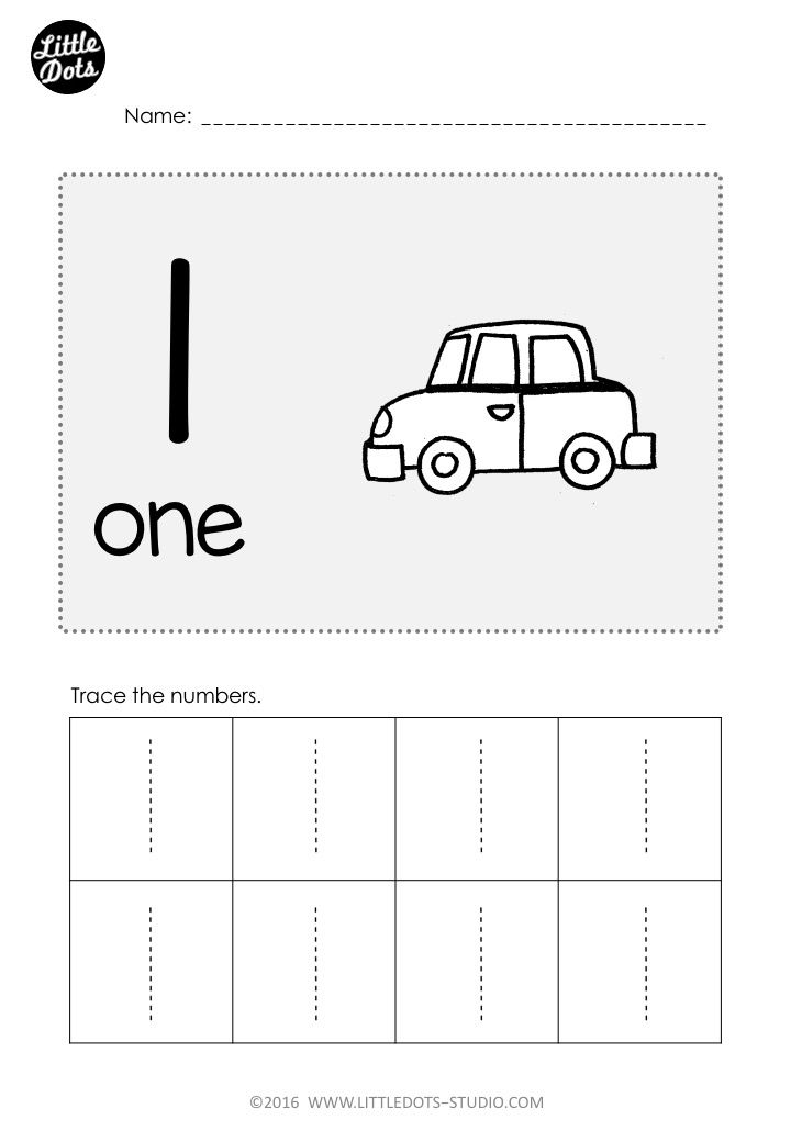 Free Number 1 Worksheet For Pre K Level Practice To Trace