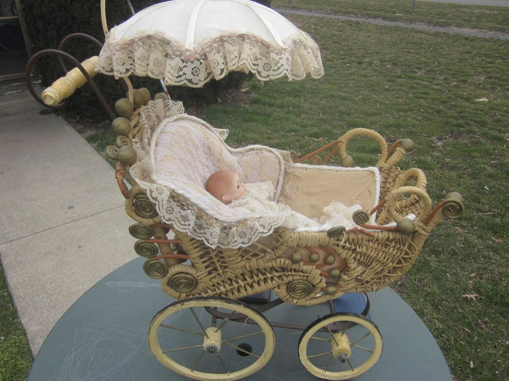 Details About Antique Victorian Wicker Baby Doll Buggy