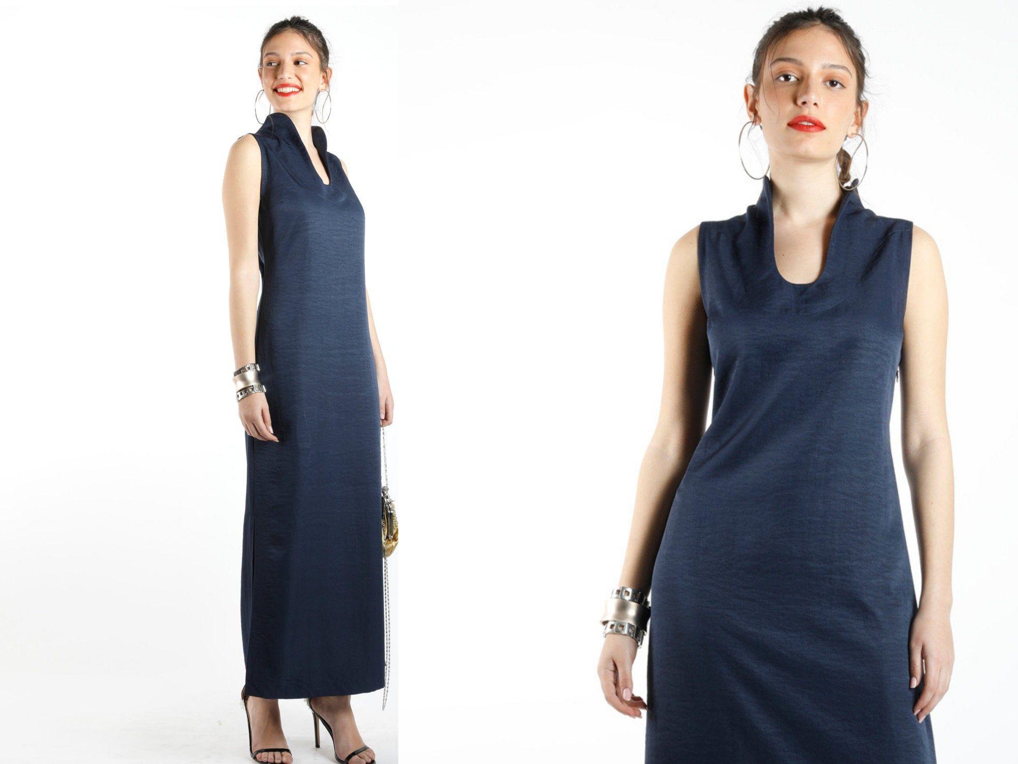 Collared Maxi Dress Navy Blue Maxi Dress Navy Blue Evening Dress Cupro Dress Sleeveless Dress Vintage Maxi Dress Holiday Clothes Cupro Dress Navy Blue Maxi Dress Vintage Maxi Dress
