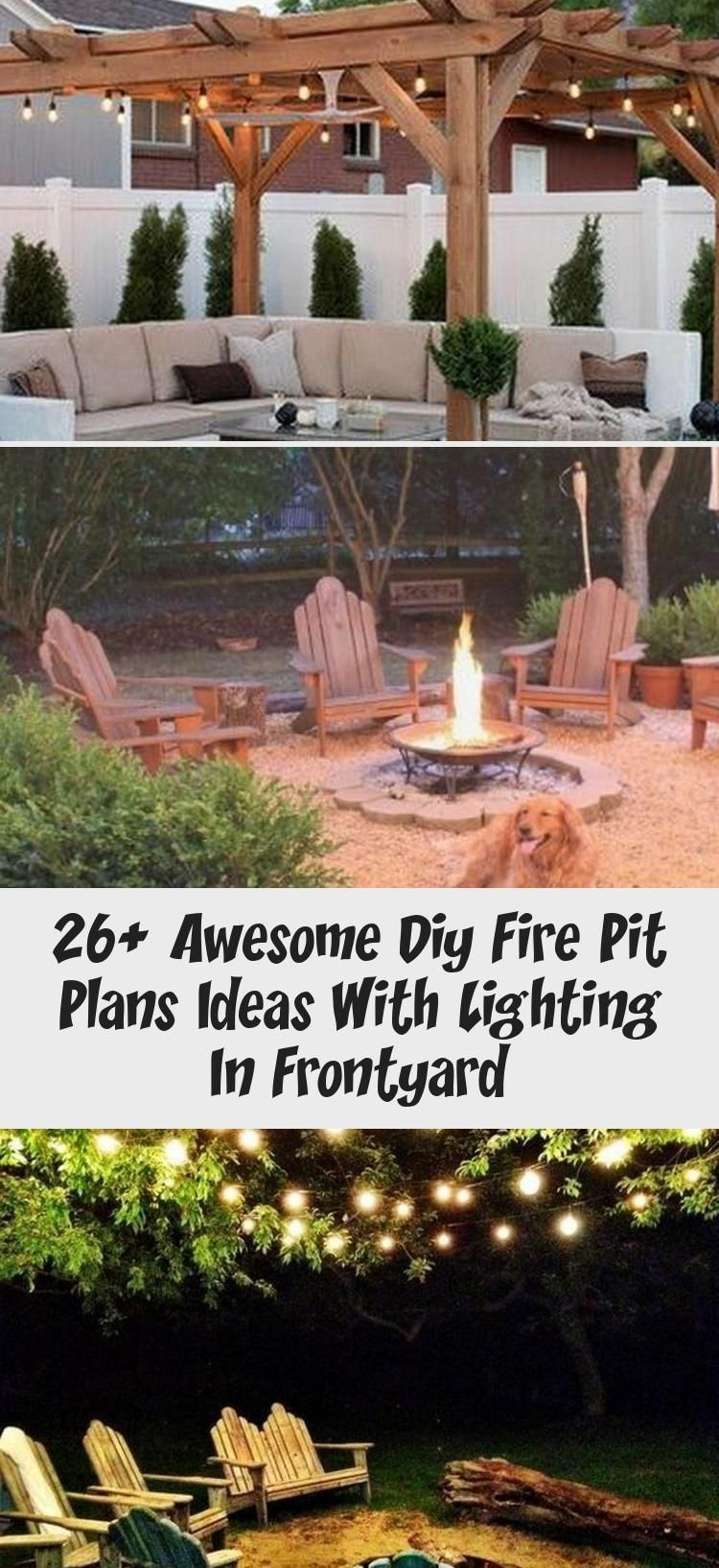 Photo of 26+ Awesome DIY Fire Pit Plans Ideas With Lighting in Frontyard #frontyardlandsc…