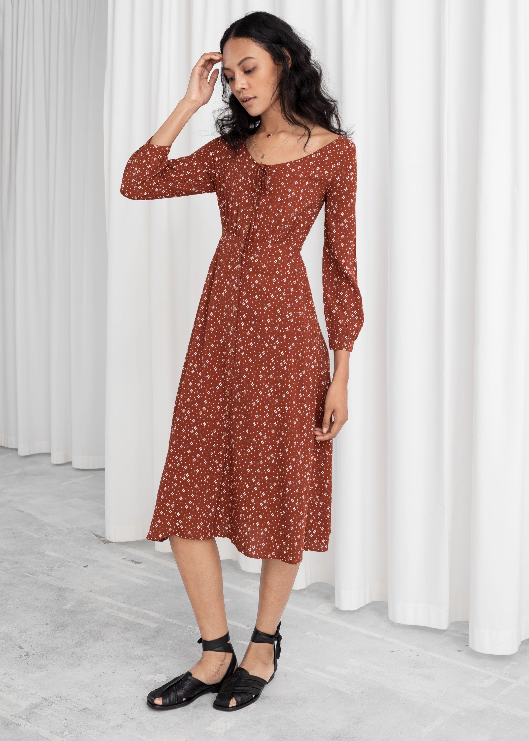 Printed Button Up Midi Dress Midi Dress Print Dress Dresses [ 2940 x 2100 Pixel ]