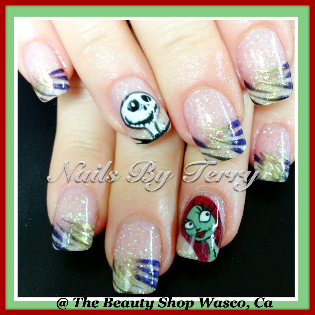 Jack and Sally gel nails | Halloween nails | Pinterest | Sally, Hair ...