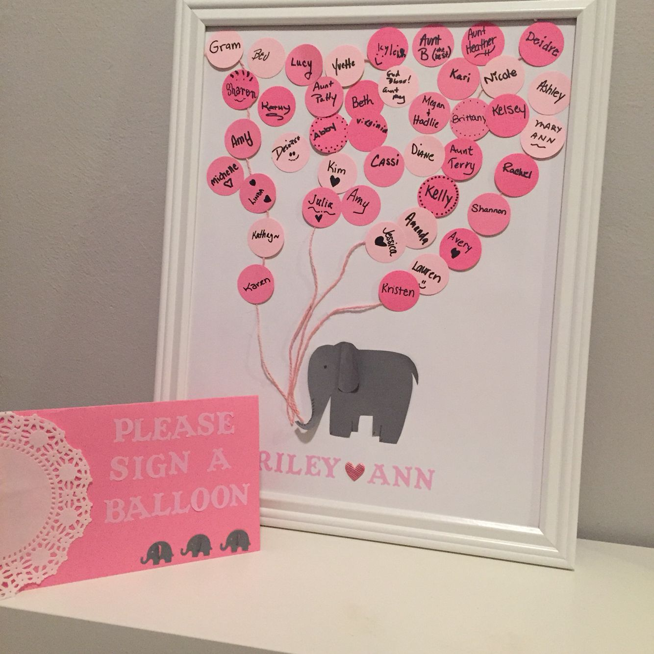 diy baby shower guest book elephant themed for our baby girl love. Black Bedroom Furniture Sets. Home Design Ideas