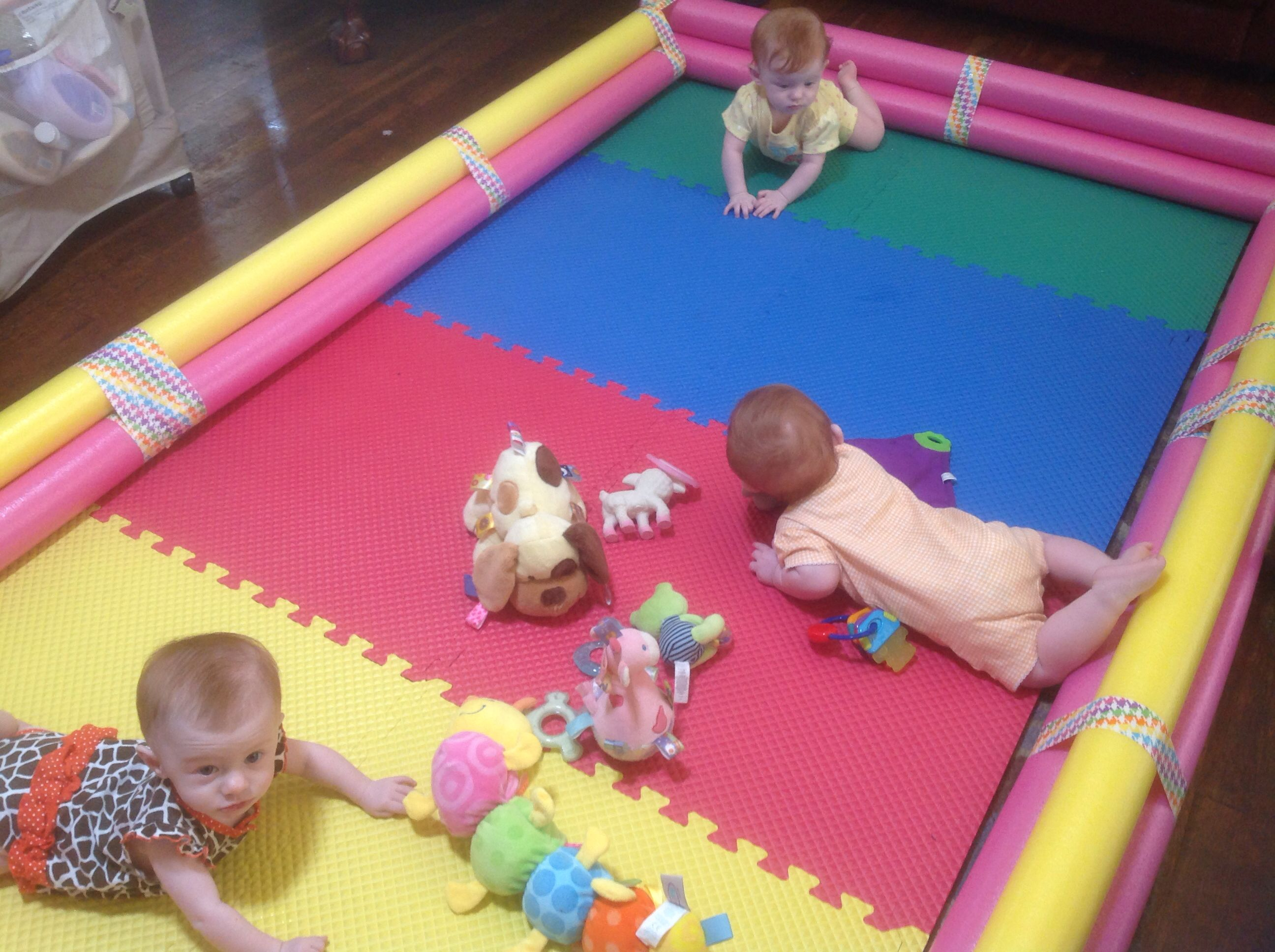 66a04f523 My DIY playpen for triplets because there is nothing on the market ...