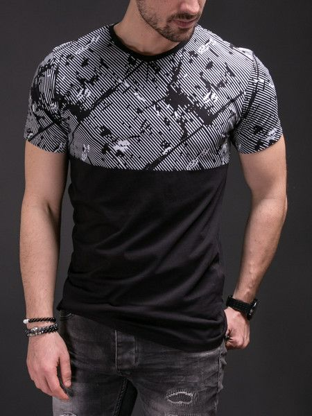 Herren Kurzarm T-Shirt Tops Tee Hip Hop Rundhals T-Shirts Jacquard Striped Slim