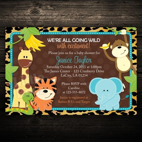 printable baby shower invitation: leopard print jungle animals, Baby shower invitations