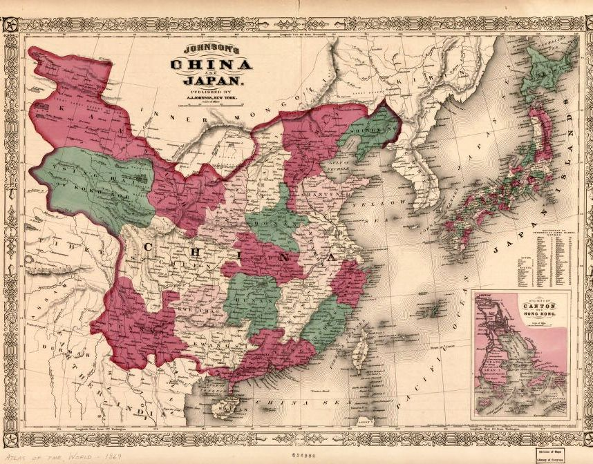 1869 map johnsons china and japan with inset of the ryukyu 1869 map johnsons china and japan with inset of the ryukyu islands library gumiabroncs Gallery
