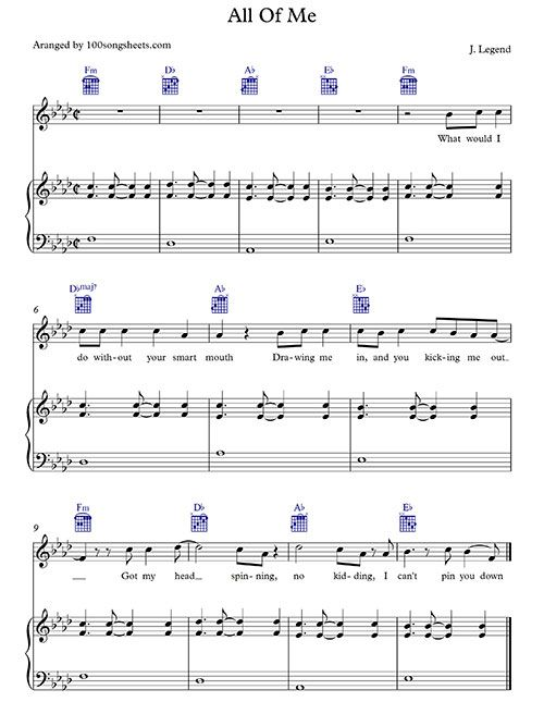 all of me sheet music piano