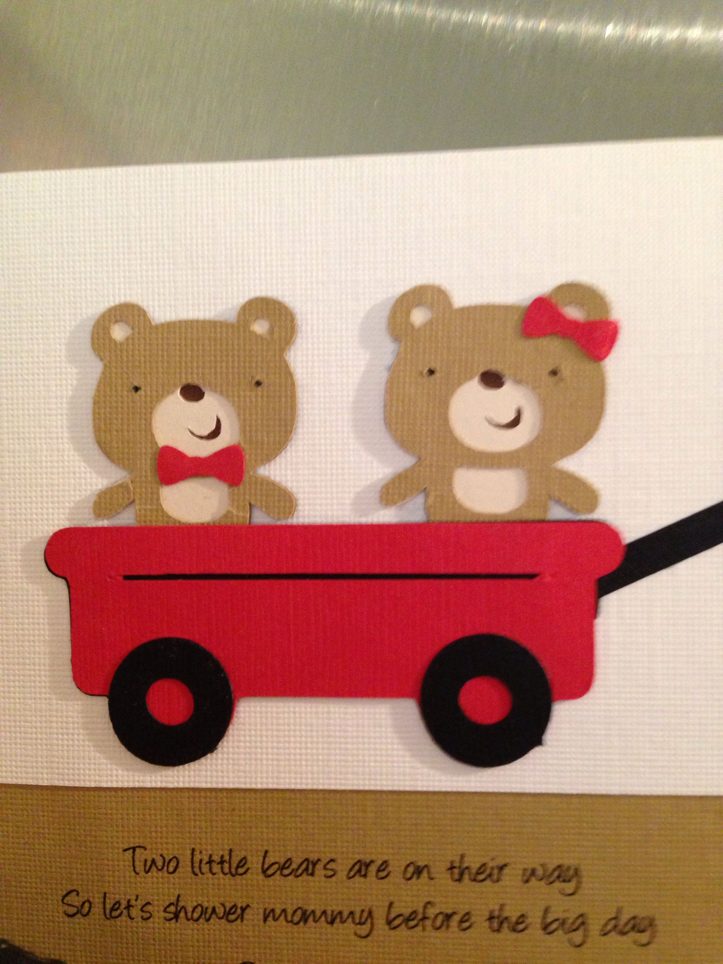 Twins baby shower; invitations; teddy bears; wagons; | Nat\'s gender ...