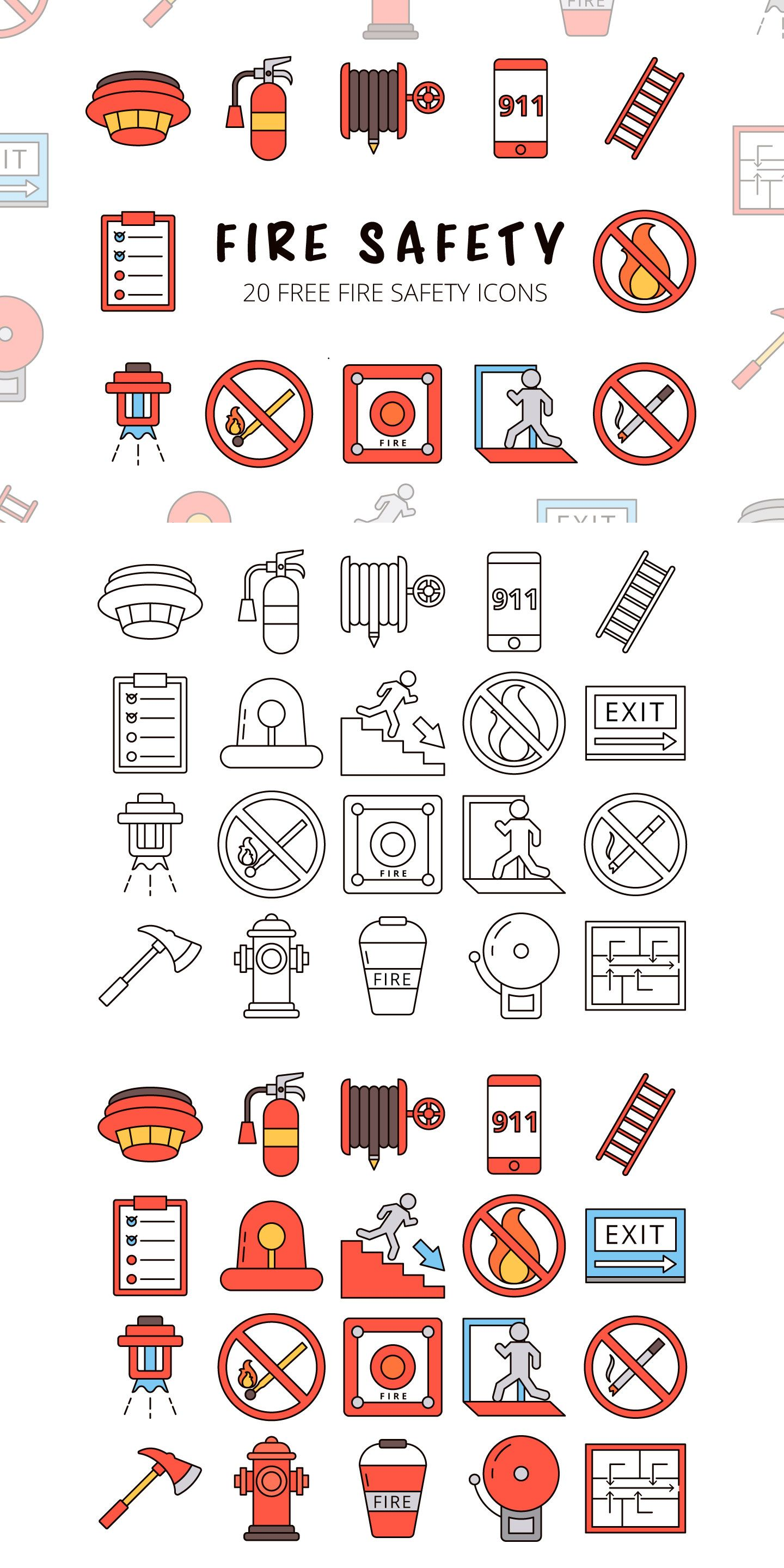 Fire Safety Vector Free Icon Set in 2020 Icon set, Cute