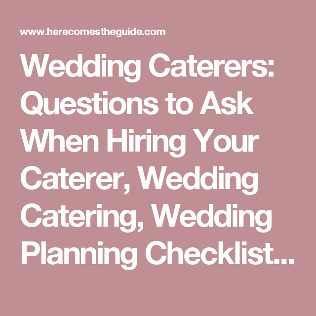 Wedding catering questions