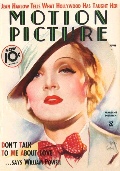 """Marlene Dietrich ~ """"Motion Picture"""" magazine 1935..."""