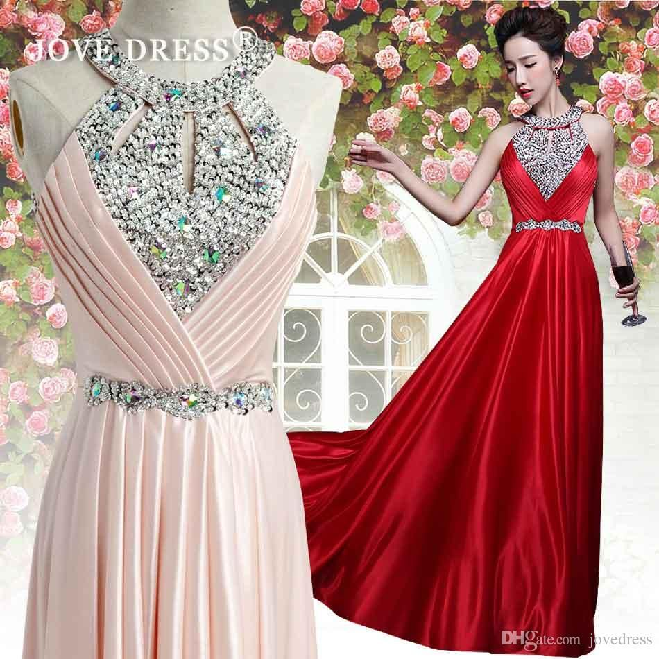 new arrival hot sale aline halter sequins beading crystal prom