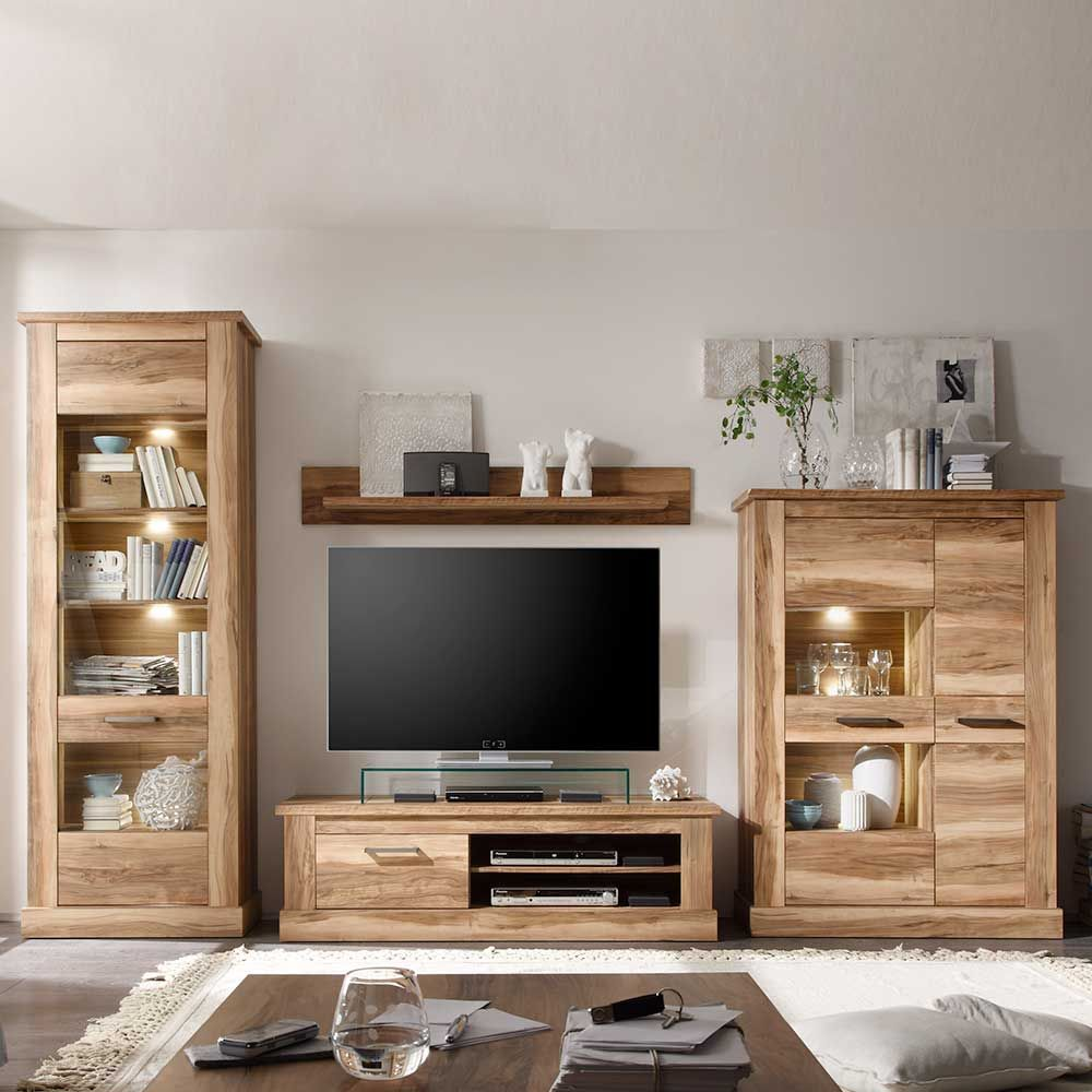 schrankwand in nussbaum satin beleuchtung 4 teilig. Black Bedroom Furniture Sets. Home Design Ideas