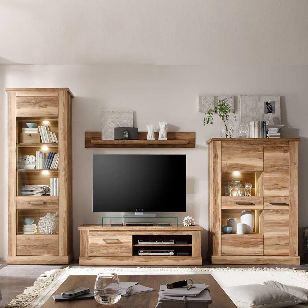 schrankwand in nussbaum satin beleuchtung (4-teilig ... - Wohnzimmerschrank Modern Wohnzimmer