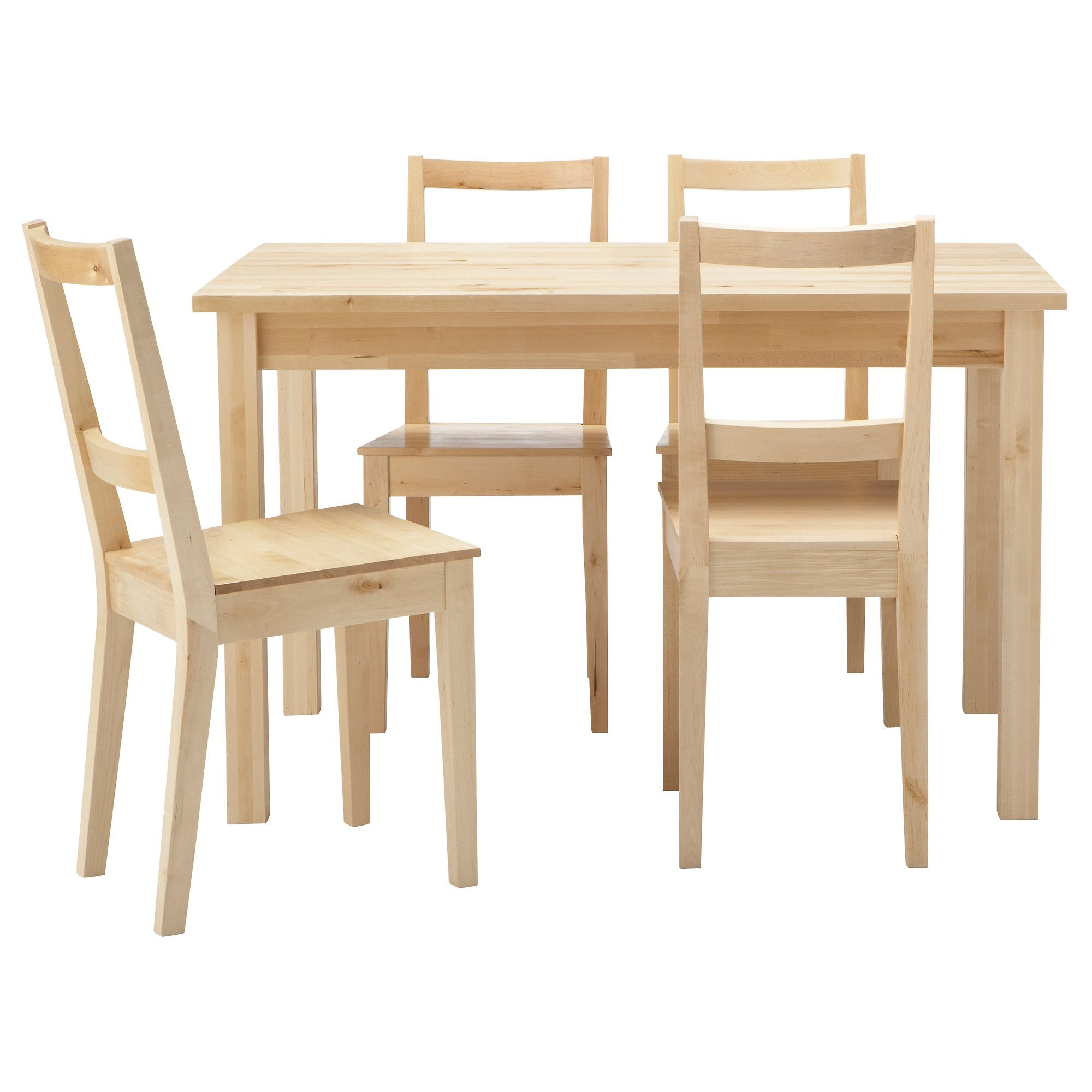 Ikea Round Table And Chairs: Charming Solid Wood Dining Table And 4 Chairs