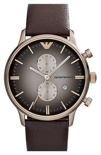 Emporio Armani Chronograph Leather Strap Watch eb2ec1e4898b